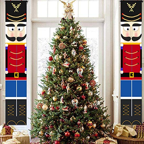 Meanwell Nutcracker Christmas Decorations - Outdoor Xmas Decor - Life Size Soldier Model Nutcracker Banners for Front Door Porch Garden Indoor Exterior Kids Party Yard Gate 2 Pcs 32x180cm