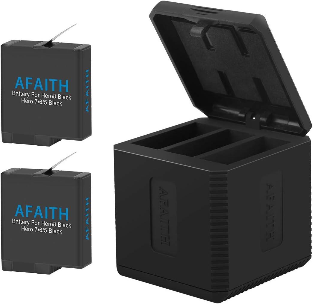 AFAITH Cargador de batería para gopro, Cargador rápido de 3 canales + 2 baterías de Las PC para Accesorios para cámaras GoPro Hero 5/6/7/8 Black Hero 2018