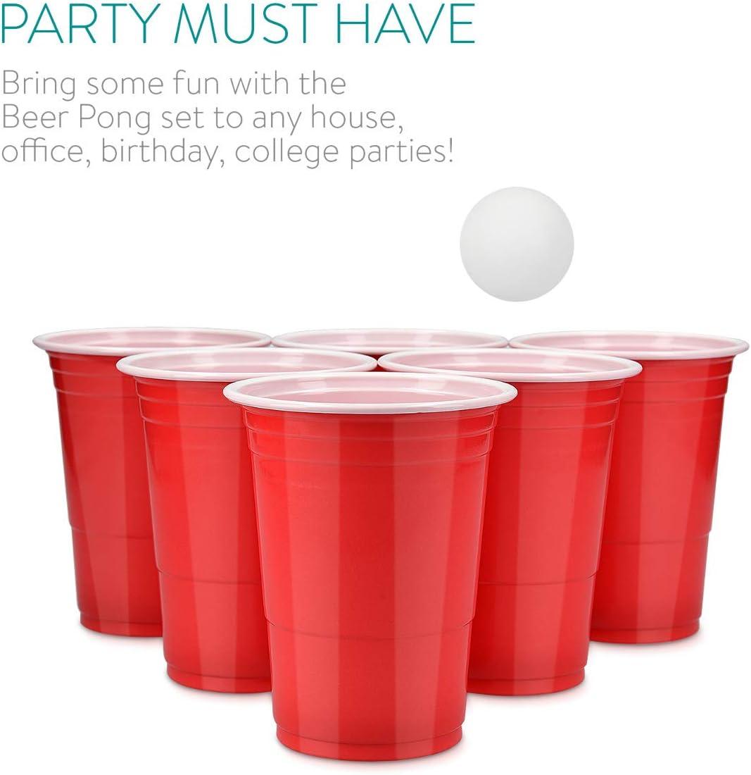 Kit de 100 vasos y 6 pelotas blancas 100 vasos para fiestas de 473ML y de color rojo para jugar a Beer Pong Navaris set de vasos de pl/ástico