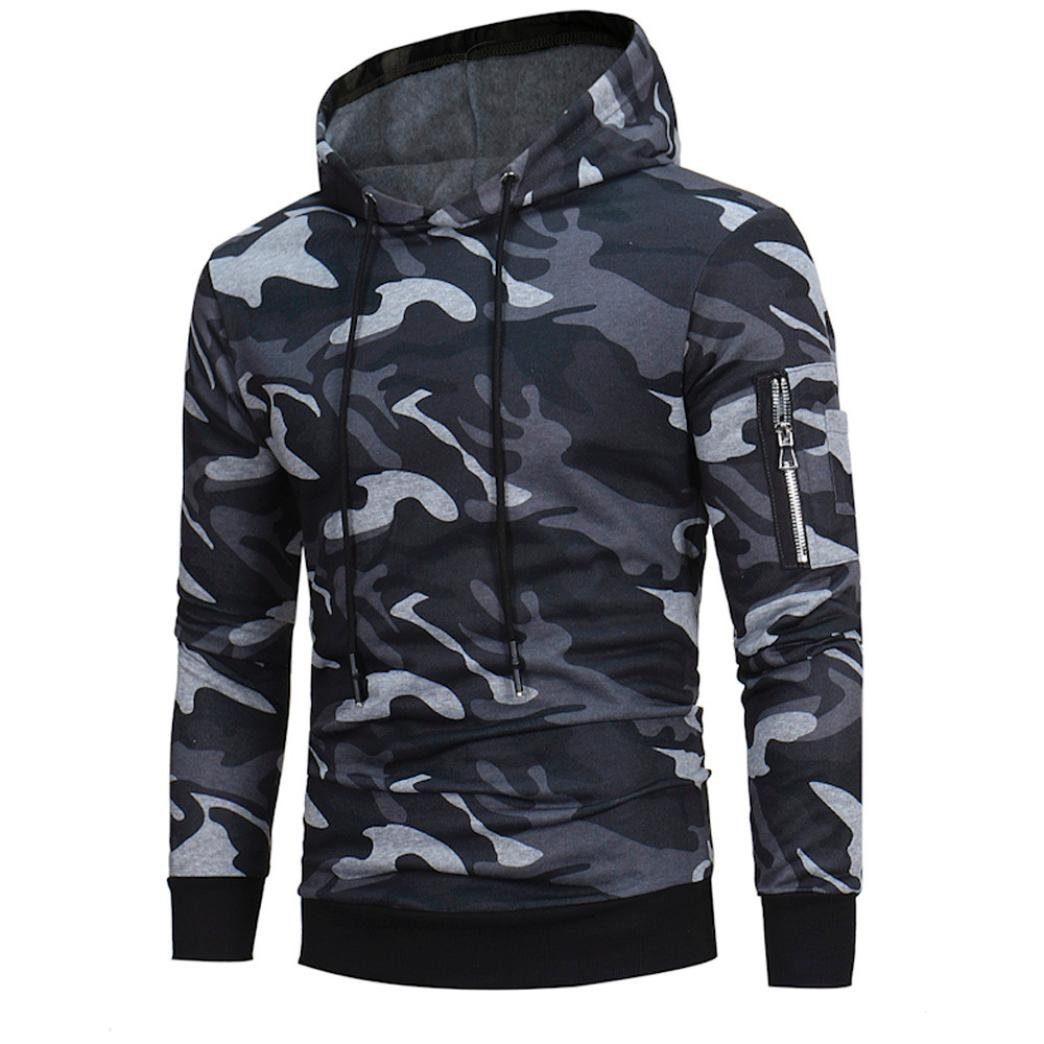 Sweatshirt Homme , Amlaiworld Manches longues Sweat à capuche camouflage Sweat capuche Tops Jacket Manteau d'usure
