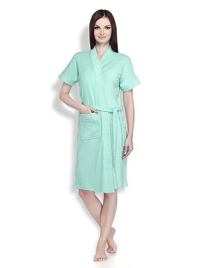 55762de8eb Buy Sanddune Women s Terry Cotton Short Sleeve Knee Length Bathrobe Gown  with Pocket and Waist Belt (Dark Green