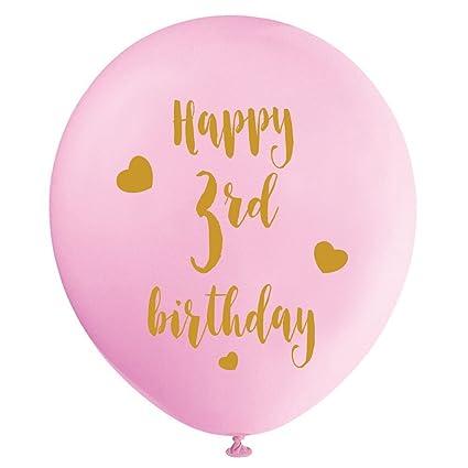 Amazon.com: Globos de látex rosa para tercer cumpleaños ...