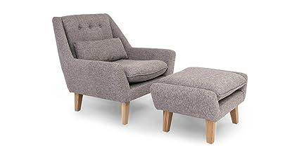 Kardiel Stuart Mid Century Modern Lounge Chair & Ottoman, Deco Grey Vintage Tailored Twill by Kardiel