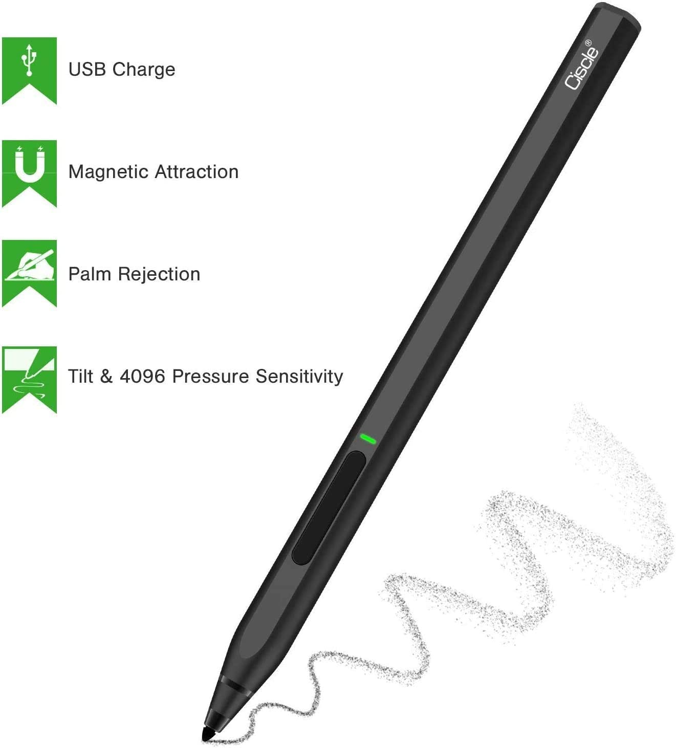 Ciscle High-Efficiency Charge Digital Stylus Pen with 4096 Levels of Pressure Sensitivity and Palm Rejection Function, Tilt, Magnetic Attachment Digital Pen for Surface Pro/Go/Book-Black