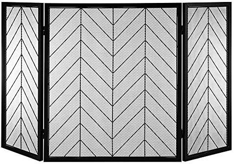 暖炉用品・アクセサリ 特大暖炉スクリーン3パネル、頑丈な鍛鉄スパークガードメッシュ、ウッドバーナー/コンロ/ガス暖炉、51×31.5inch (Color : Black)