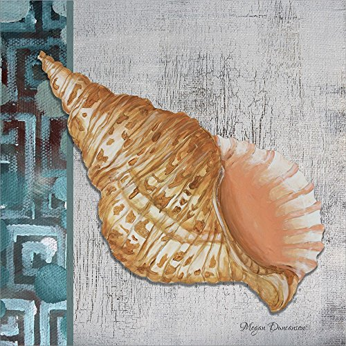 (Spotted Conch Seashell - Side Border and Gray Crackle Back by Megan Duncanson Laminated Art Print, 14 x 14 inches)