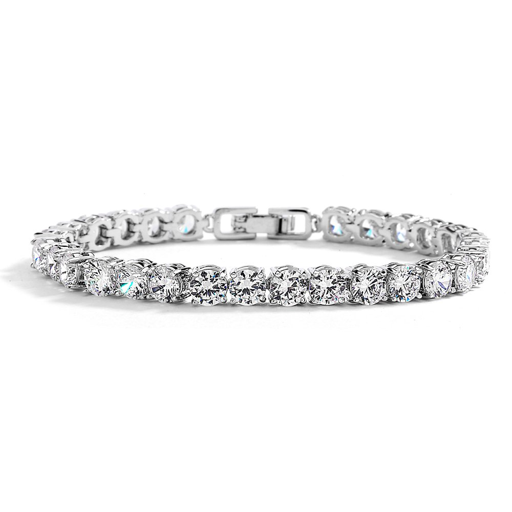 Mariell Glamorous Platinum Silver 6 1/2'' Petite Size CZ Bridal Tennis Bracelet - Ideal for Smaller Wrist!