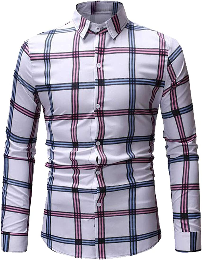FSSE Men Casual Business Slim Plaid Long Sleeve Button Down Dress Work Shirt