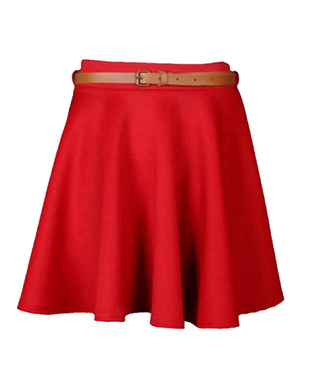 New Ladies Girls Skater Belted Stretch Waist Plain Flippy Flared Jersey Short Skirt Womens Size 8 10 12 14