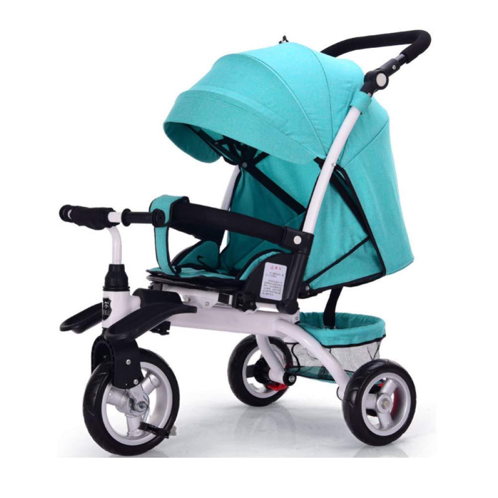 JYY Passeggino Pieghevole per Bambini con Passeggino Trike Pieghevole 4 in 1 con Seggiolino E Seduta Reclinabile Sdraiata per 6 Mesi- 6 Anni, Sistema di Viaggio per Jogger,A