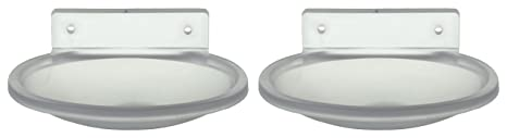 Zoom Unbreakable Oval Shape ABS Plastic Single Soap Dishes (13.5 x 9.5 x 3 cm, Clear) - Pack of 2 Bathroom Shelves at amazon