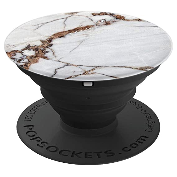 Chic White Gray Gold Brown Marble Granite Classic   Pop Sockets Grip And Stand For Phones And Tablets by East Coast Trendy Phone Accessories & Gift Ideas