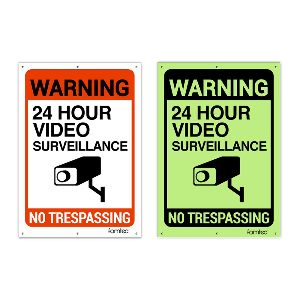 "2 Pack Glow in Dark Video Surveillance Sign Outdoor Warning Sign | 7""x 10"" Aluminum 