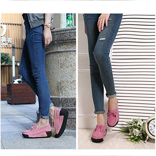 Mujer Mocasines Plataforma Creepers Moda Cuero Loafers Cuña Zapatos Rose De Gamuza rdrgqXxf