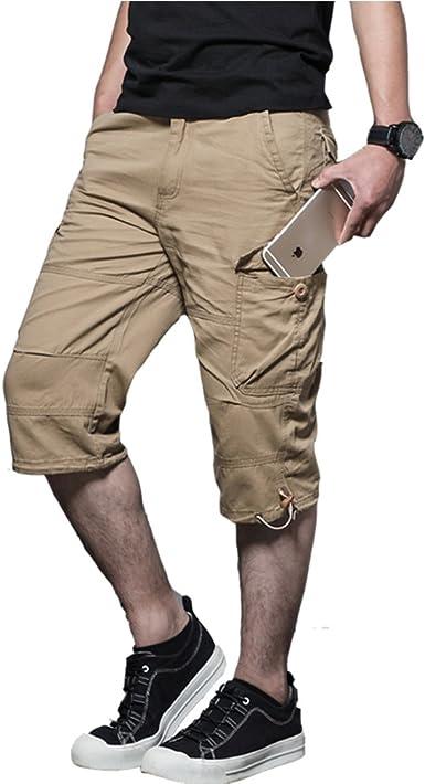 Pantalones Hombres 3/4 Verano Cargo con Bolsillos Grandes ...