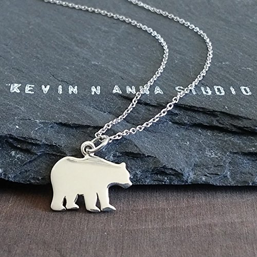(Sterling Silver Mama Bear Charm Pendant Necklace, 18
