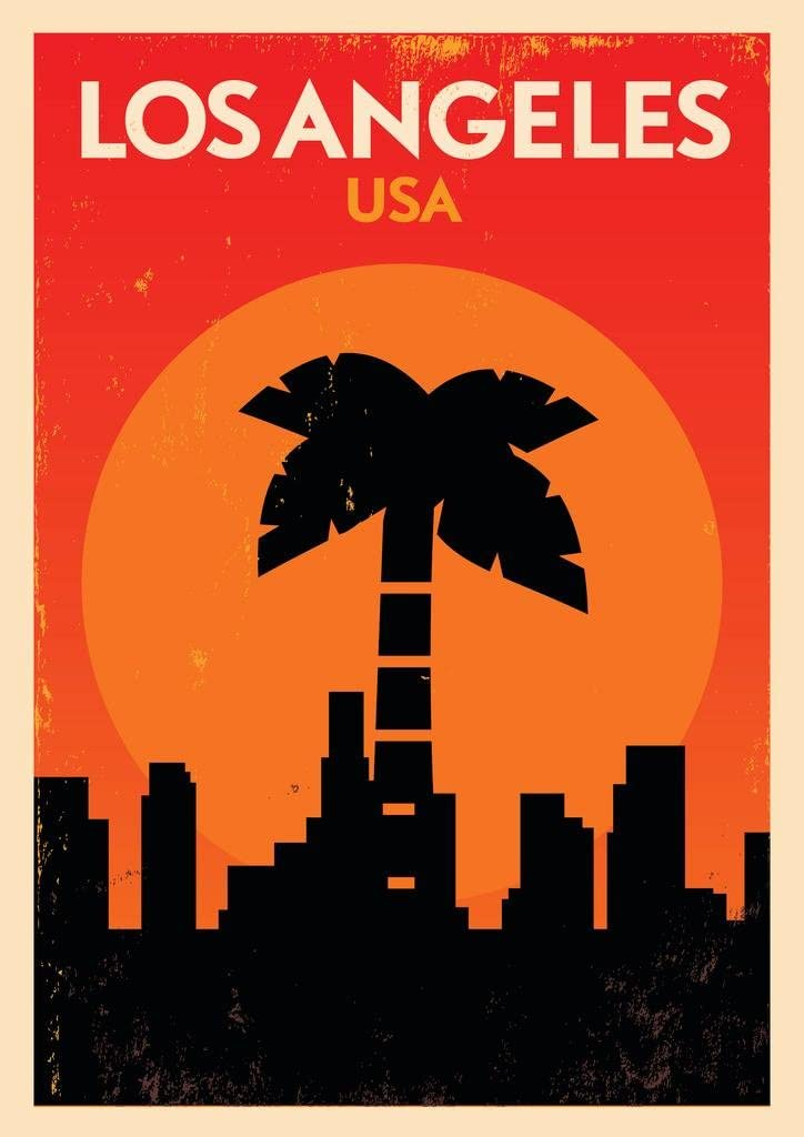 Los Angeles California USA Skyline Palm Tree Retro Travel Cool Wall Decor Art Print Poster 24x36