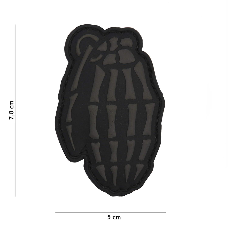 Tactical Attack Skull Granate grau #9049 Softair Sniper PVC Patch Logo Klett inkl gegenseite zum aufn/ähen Paintball Airsoft Abzeichen Fun Outdoor Freizeit