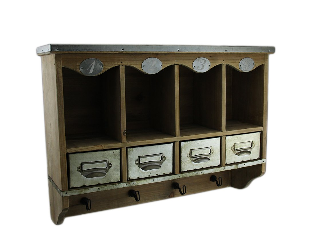Wood & Metal Decorative Wall Hooks Wooden Wall Mounted Organization Center W/Metal Drawers 20 In. 20 X 14.5 X 5.5 Inches Brown Model # 68036