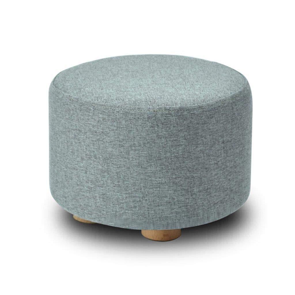 CS-JZ Shoe Stool, Washable Linen Seat Cushion Round Footstool, Wooden 4 Legs Round Dustproof,29X29X20CM by CS-JZ