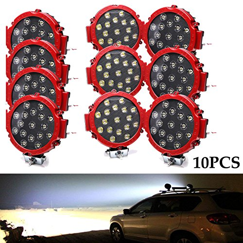 10pack LED Off Road Light Bar Round Work Light 51W 7 Inch 12V 24V Waterproof Fog Lamp Driving Lights for Truck Jeep SUV 4X4 Car Boat Tractor - Red