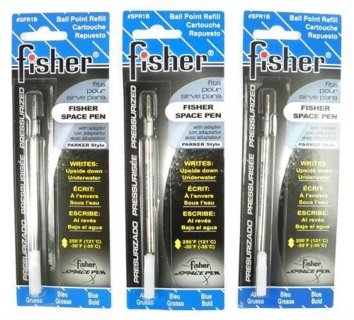Fisher Space Pen - 3 Pressurized Cartridges Blue Ink Bold Point #SPR1B