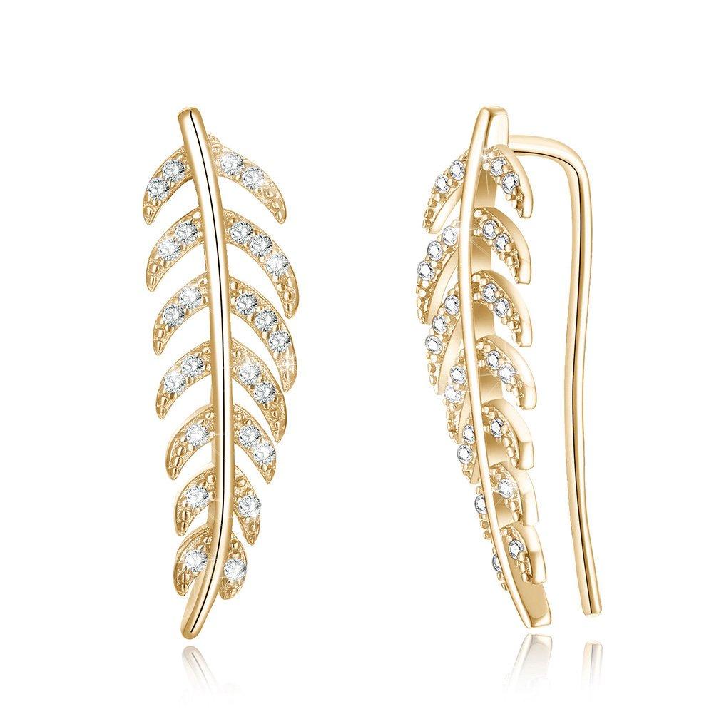 14k Gold Plated Cubic Zirconia Leaf 925 Sterling Silver Earrings Cuff Wrap Earrings for Women Girls CZ Hypoallergenic Piercing Post