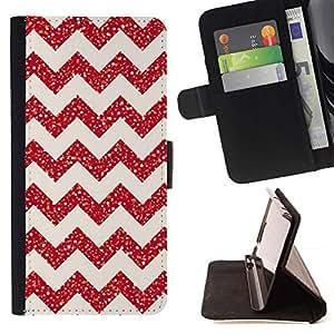 For Sony Xperia M2 Case , Chevron del brillo de la Navidad Rosa Rojo Brillante- la tarjeta de Crédito Slots PU Funda de cuero Monedero caso cubierta de piel