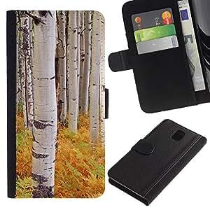 KingStore / Leather Etui en cuir / Samsung Galaxy Note 3 III / Helechos árboles de abedul Naturaleza Amarillo