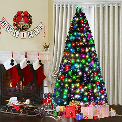 Goplus Pre-Lit Artificial Christmas Tree, Optical Fiber (7ft) (Fiber Ft Optic 7 Tree)