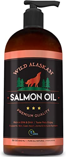 Vitamets Wild Alaskan Salmon Oil for Dogs, Cats and Pets 100 Natural Omega-3 Fish Oil Supplement with DHA and EPA Promotes Hip and Joint Function, Healthy Skin and Coat 32 oz