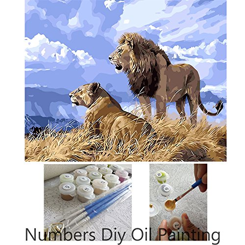 Aksuo Paint by Numbers Kits Diy Canvas Oil Painting for Kids, Students, Adults Beginner - Lion King Simba 16 x 20 inch with Brushes and Acrylic Pigment(Without Framed)