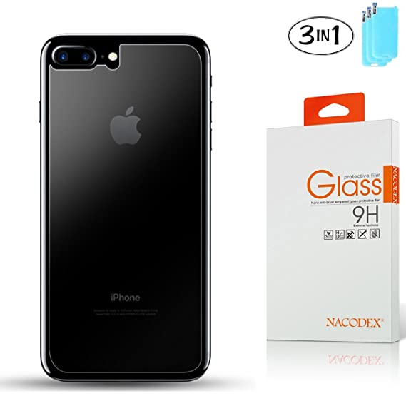 [3-Pack] [Only Back Glass] Nacodex For Apple iPhone 7 Plus Ballistic HD  Tempered Glass Screen Protector 0 26mm 9H Glass ([3-Pack Back Glass] For