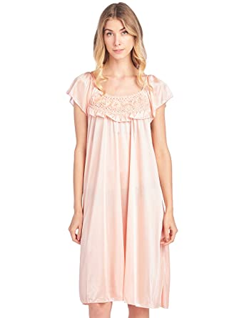 Casual Nights Women s Cap Sleeve Flower Silky Tricot Nightgown - Orange -  Medium a140d7127