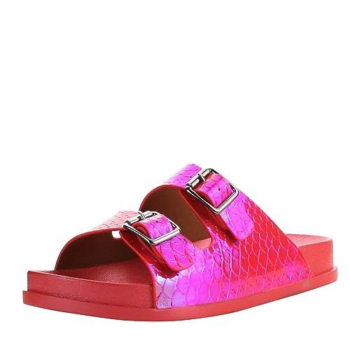 e6b13d2d760c CAPE ROBBIN Women Open Toe Hologram Snake Double Buckle Strap Flip Flops  Flat Sandals 6 Red