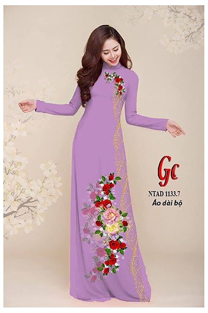 Silk 3D Traditional Vietnamese Long Dress Collections with Pants All Size Ao Dai ADVN00293
