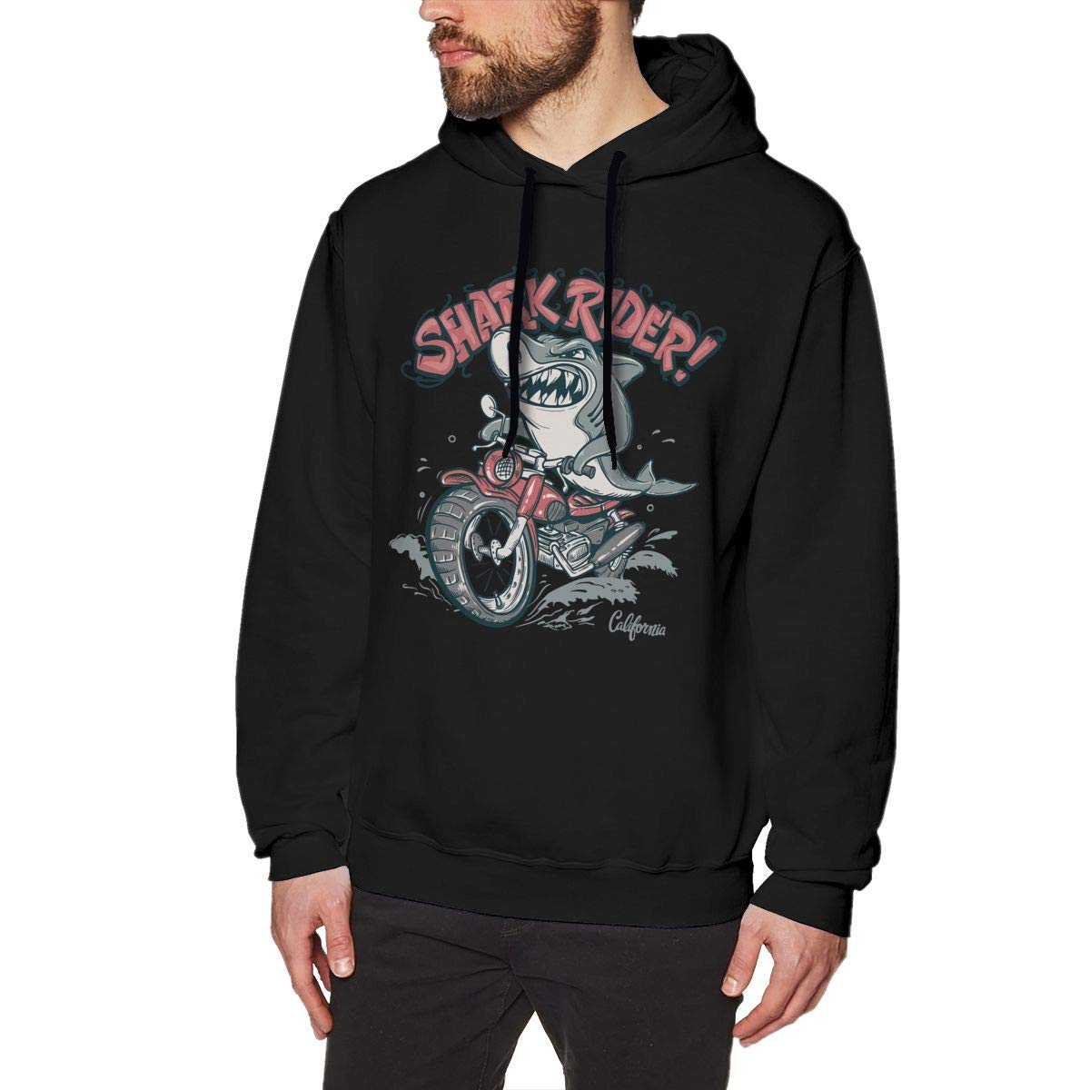 Mens Stylish Solid Color Hooded Long-Sleeve Pullover Drawstring Shark Rider On Motorcycle Hoodie