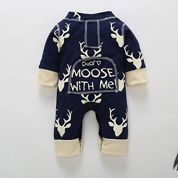 b29208e2fae0 Amazon.com  GoodLock Clearance!! Baby Boys Girls Jumpsuits Newborn Infant  Christmas Deer Romper Jumpsuit Outfits Clothes  Clothing
