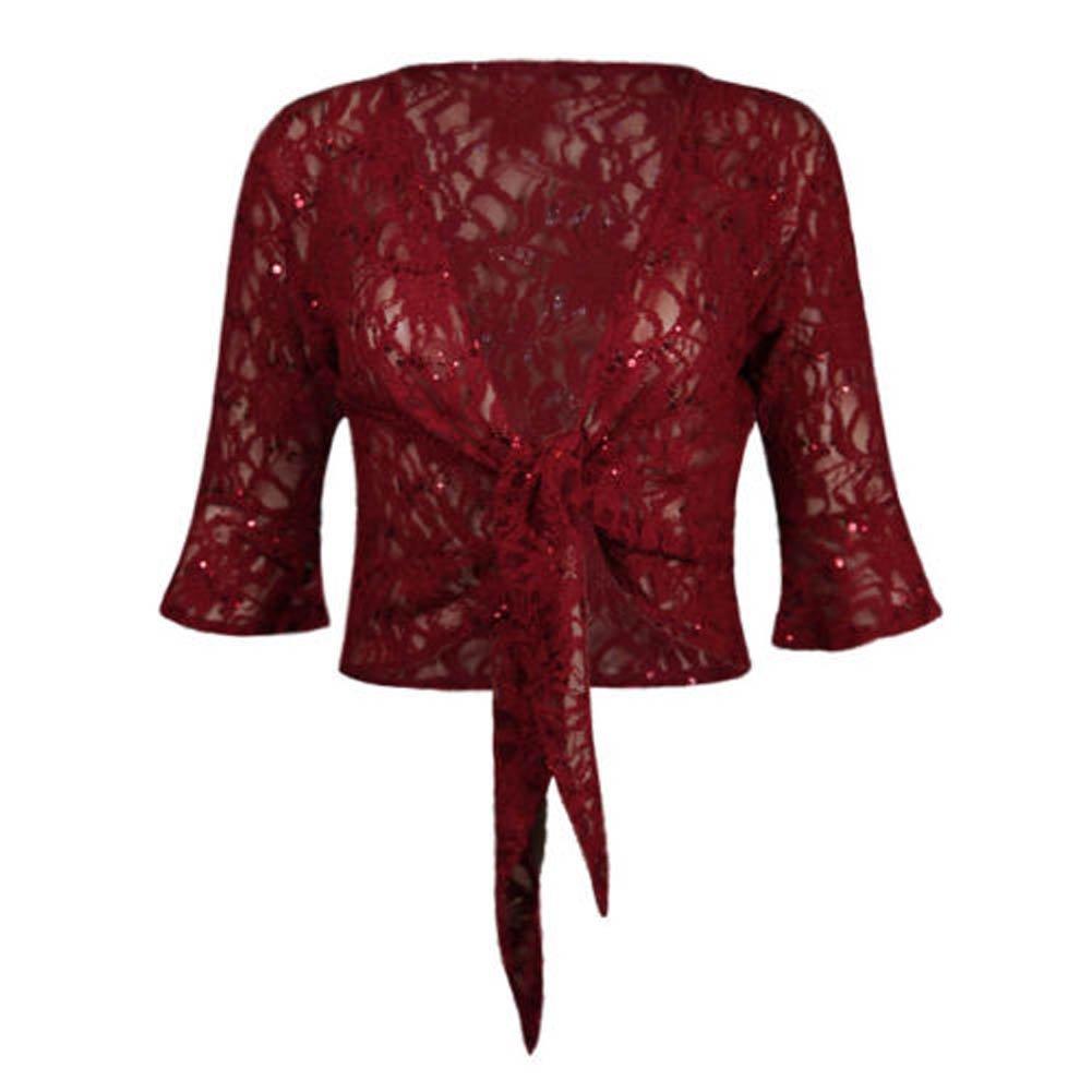 Comfiestyle Womens Sequin Lace Floral Tie Knot Bolero Shrug Ladies Frill Crop Top Plus Sizes 12-26