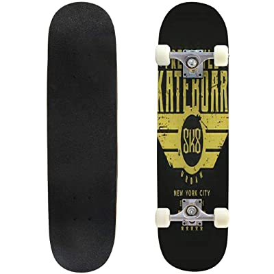 Classic Concave Skateboard Vector Illustration on The Theme of Skateboarding and Skateboard in Longboard Maple Deck Extreme Sports and Outdoors Double Kick Trick for Beginners and Professionals : Sports & Outdoors