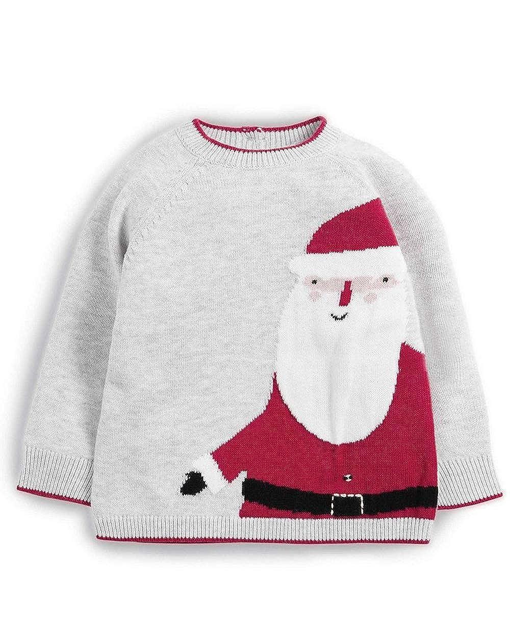Mamas & Papas Knitted Christmas Santa Claus Grey Jumper 100% Cotton - 3-6 Months