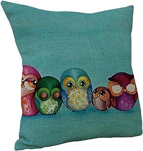 Nunubee Decorative Throw Pillow Cases 18x18 Home Decor Cushion Cover 5 Owls