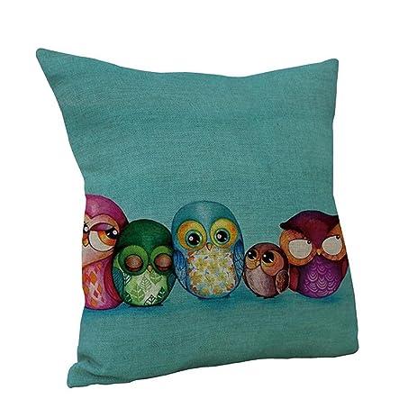 Nunubee Square Throw Sofa Pillow Case Linen Cotton Decorative Cushion Cover Home 5 Owls