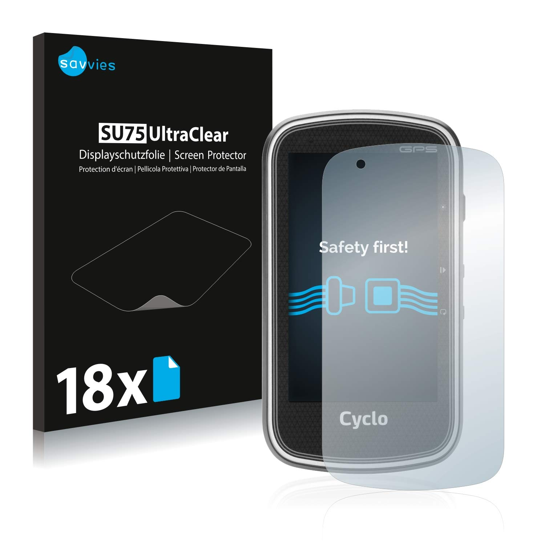 18 Pi/èces Savvies Film Protection d/écran Compatible avec Mitac Mio Cyclo 605 HC Ultra Clair