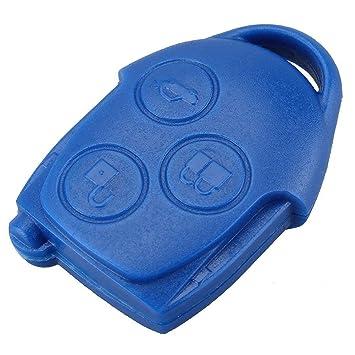 bacai de 3 BOTONES MANDO ENTRADA funda llave Fob Escudo para FORD TRANSIT & Con Azul