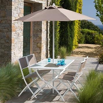 Générique Salon de jardin taupe avec parasol offert: Amazon.fr: Jardin