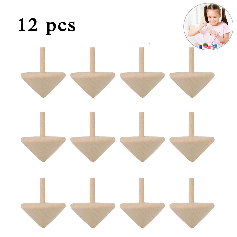 Kreisel aus Holz Joyibay 12 ST/ÜCKE Holzkreisel Kinder Bemalung Farbenfroher Kreative Kreisel Holz Set f/ür Kinder Kindergeburtstag Spielzeugkreisel aus Holz
