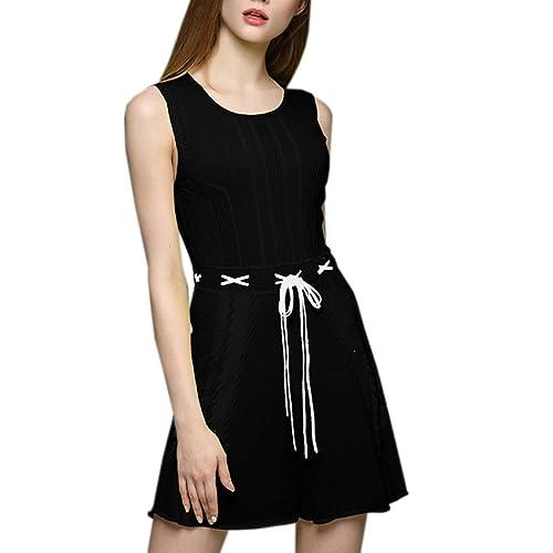 Moda Delgado Sin Mangas Casual Suave Simple Cuello Escote Vestidos