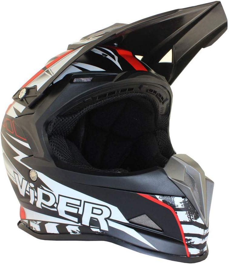 L VIPER RSX121 SUPERCROSS ENDURO ECE 22.05 APROBADO MOTO CASCO ROJO EQUIPO DE PROTECCI/ÓN PARA BICICLETA 59-60 CM