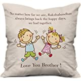 Indigifts Indibni Micro Satin Far But Always Close Quote Printed Beige Cushion Cover with Filler, 12x12 Inches (Multicolour)
